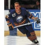 Buffalo Sabres (1992) Rob Ray wearing Buffalo Sabres road uniform with NHL 75th Anniversary Patch during 1991-92 season