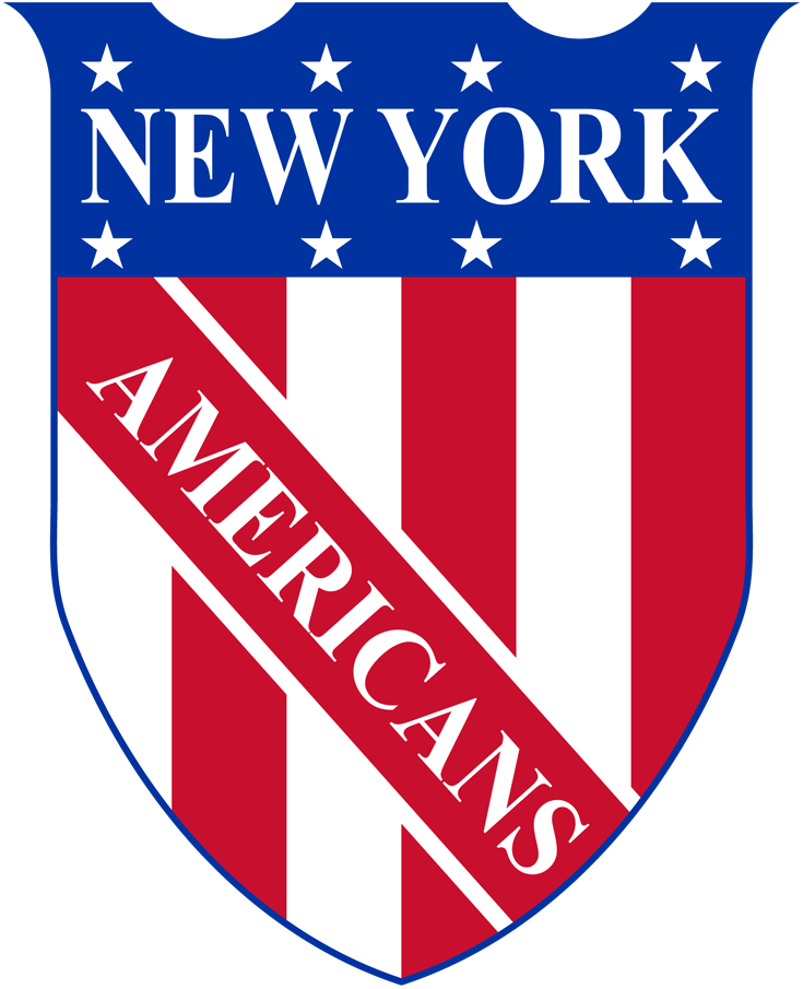 New York Americans Logo Primary Logo (1925/26-1932/33) - A shield with red and white vertical stripes and eight white stars near the top, NEW YORK AMERICANS on blue and red stripes written on the shield SportsLogos.Net