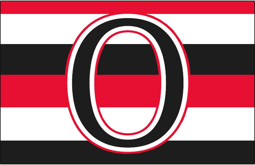 Ottawa Senators Logo Jersey Logo (1932/33-1933/34) - A black O with white, red, and black stripes running through it, worn on original Ottawa Senators 'barberpole' uniform in 1929/30 and again from 1932-33 and their final season in 1934 SportsLogos.Net