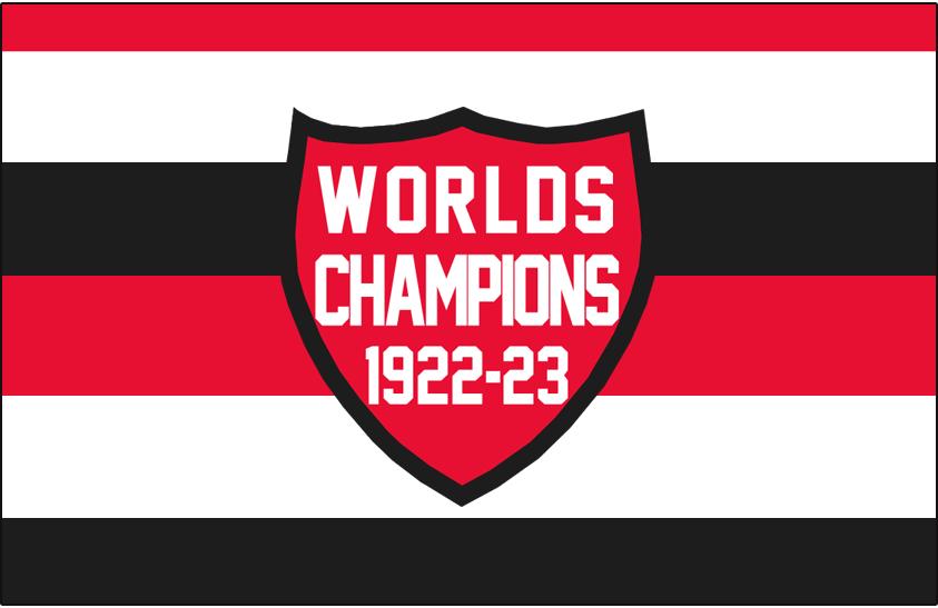 Ottawa Senators Logo Jersey Logo (1923/24) - Red, white, black barberpole with Worlds Champs 1922-23 patch SportsLogos.Net