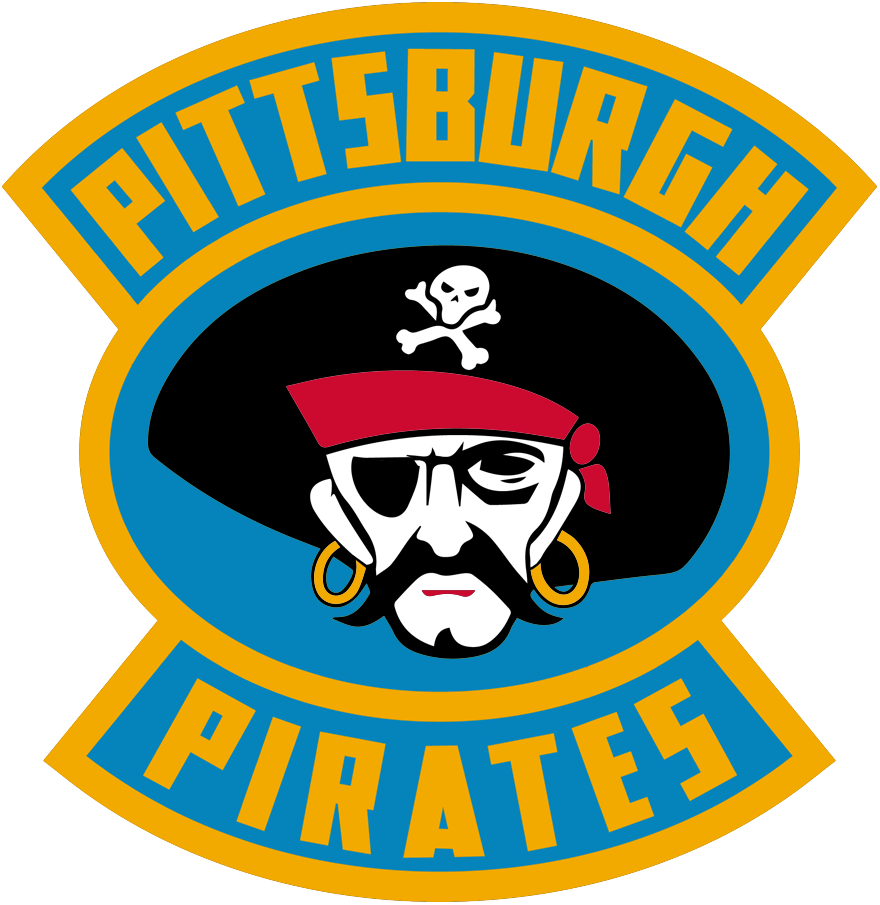 Pittsburgh Pirates Logo Primary Logo (1928/29-1929/30) - Pirate head inside a blue and gold oval with team name around SportsLogos.Net