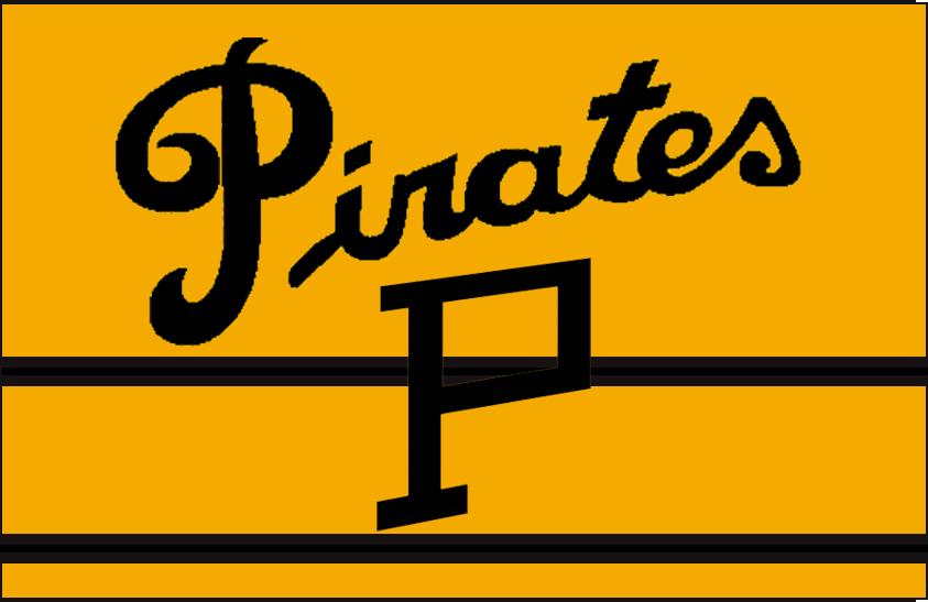 Pittsburgh Pirates Logo Jersey Logo (1925/26-1927/28) - Slanted black P underneath script SportsLogos.Net