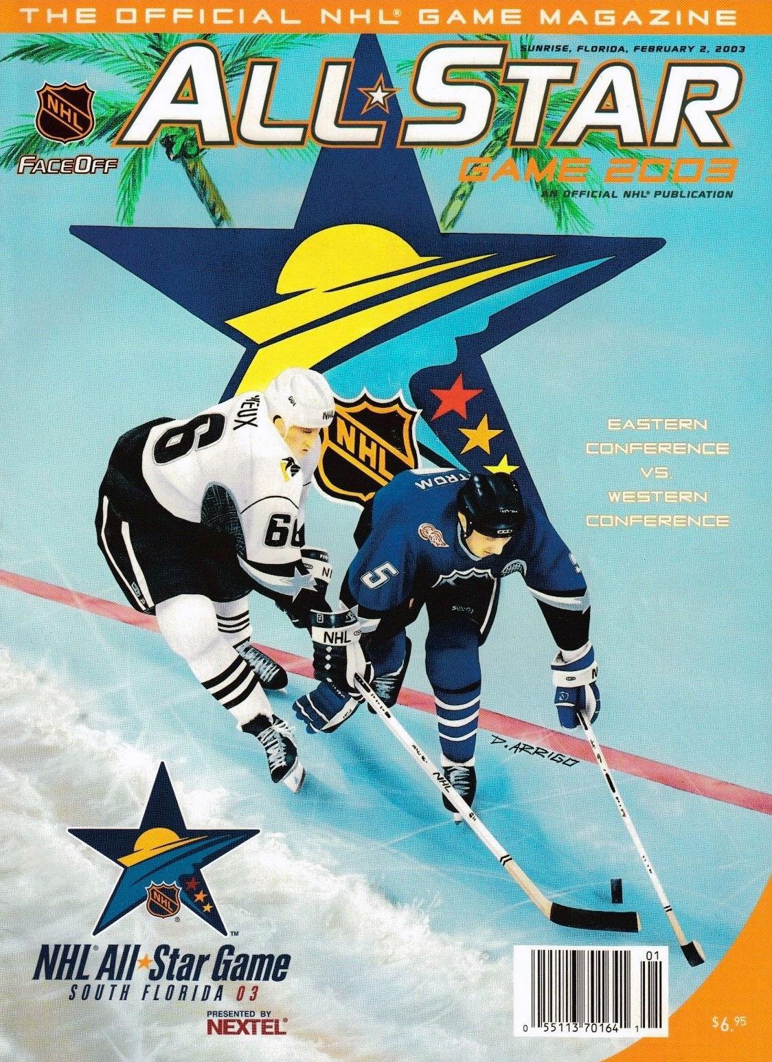 NHL All-Star Game Program Program (2002/03) - 2003 NHL All-Star Game program cover - game held in Sunrise, FL. Mario Lemieux and Nik Lidstrom on cover SportsLogos.Net