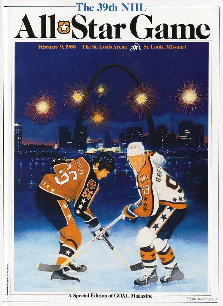NHL All-Star Game Program Program (1987/88) - 1988 NHL All-Star Game Program - game held in St Louis, MO. Mario Lemieux and Wayne Gretzky on cover SportsLogos.Net