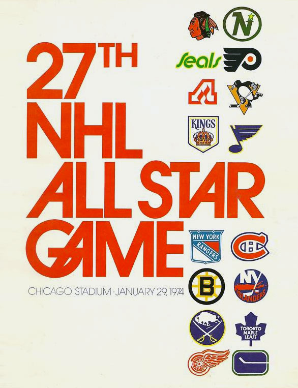 NHL All-Star Game Program Program (1973/74) - 1974 NHL All-Star Game program cover - game held in Chicago, IL. Cover features team logos for all 16 NHL teams SportsLogos.Net