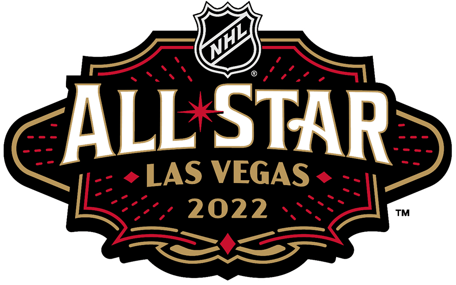 NHL All-Star Game Logo Primary Logo (2021/22) - The 2022 NHL All-Star Game logo is designed to resemble the shape of the famous Welcome to Las Vegas sign as well as its famous red glint, the typeface is inspired by old fashioned casino signage and neon tubing is used as trim, the colours are those of the host Vegas Golden Knights. The game is played on February 5, 2022 at T-Mobile Arena in Las Vegas. SportsLogos.Net