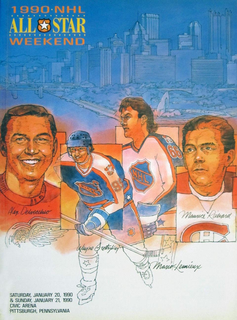 NHL All-Star Game Program Program (1989/90) - 1990 NHL All-Star Game Program - Pittsburgh, PA hosted by Pittsburgh Penguins SportsLogos.Net