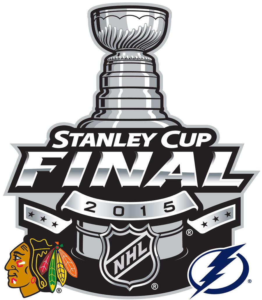 Stanley Cup Playoffs Logo Finals Matchup Logo (2014/15) - 2015 Stanley Cup Final matchup logo - Chicago Blackhawks VS Tampa Bay Lightning - Chicago won series 4-2 SportsLogos.Net