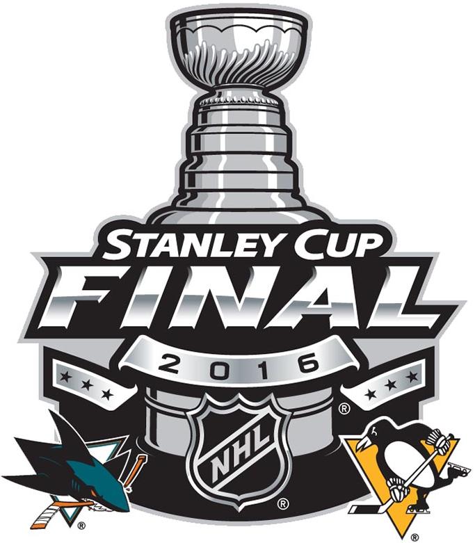 Stanley Cup Playoffs Logo Finals Matchup Logo (2015/16) - 2016 Stanley Cup Final matchup logo - Pittsburgh Penguins VS San Jose Sharks - Pittsburgh Penguins won series 4-2 SportsLogos.Net