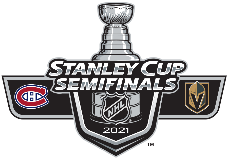 Stanley Cup Playoffs Logo Special Event Logo (2020/21) - The 2021 Stanley Cup Semi Finals matchup logo featuring the logos of the Montreal Canadiens and the Vegas Golden Knights SportsLogos.Net