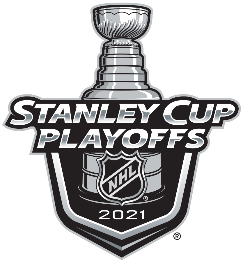 Stanley Cup Playoffs Logo Primary Logo (2020/21) -  The 2021 Stanley Cup Playoffs logo continues the template that has been in use since 2013. It features STANLEY CUP PLAYOFFS written in silver with 2021 below in white and a depiction of the top-half of the Stanley Cup can be seen above a black shield. SportsLogos.Net