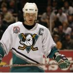 Stanley Cup Playoffs (2003) Paul Kariya wearing Mighty Ducks of Anaheim home white uniform with 2003 Stanley Cup Final patch during 2002-03 season
