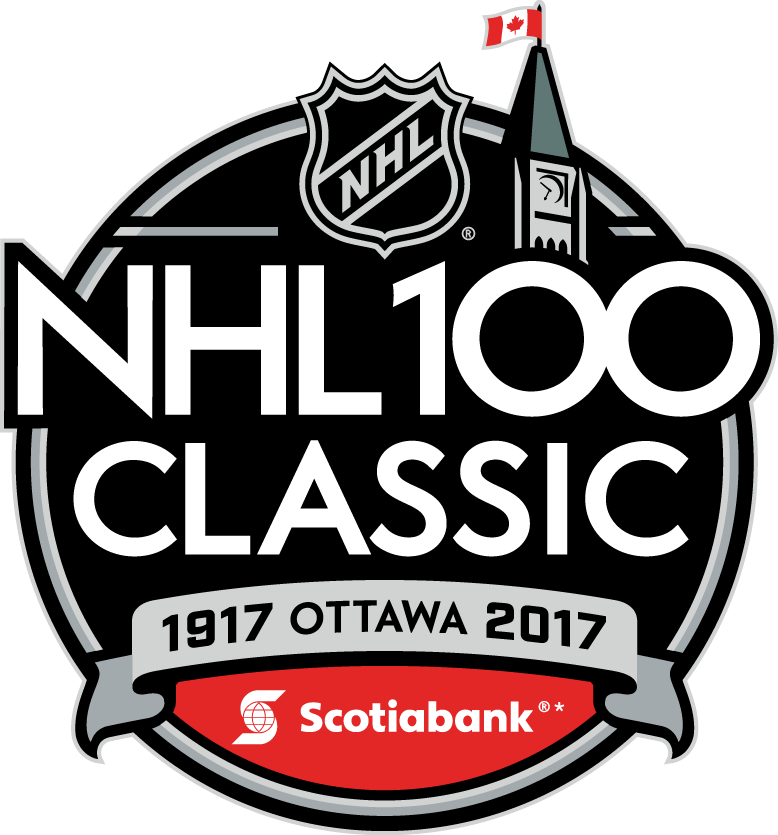 National Hockey League Logo Event Logo (2017/18) - The NHL 100 Classic (branded as the Scotiabank NHL 100 Classic) is an upcoming regular season outdoor National Hockey League (NHL) game that will be held on December 16, 2017. The game will feature the Ottawa Senators playing the Montreal Canadiens at TD Place Stadium in Ottawa SportsLogos.Net