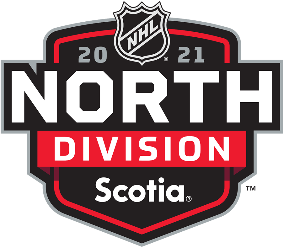 National Hockey League Logo Division Logo (2020/21) - Scotia NHL North Division logo. For the 2020-21 NHL season the league needed to temporarily realign their divisions due to the COVID-19 pandemic eliminating cross-border travel. All division logos followed the same template with only the division and sponsor names switched out as well as a secondary colour. Shown here is the Scotia NHL North Division logo on a red and black shield. The North Division was comprised of only Canadian-based NHL teams. SportsLogos.Net