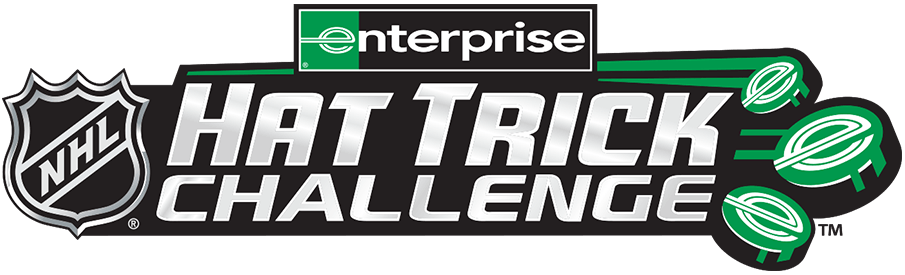 National Hockey League Logo Misc Logo (2020/21) - The Enterprise NHL Hat Trick Challenege logo, the design shows three green hockey pucks with the Enterprise logo on them streaking past the words HAT TRICK CHALLENGE and the NHL shield, the Enterprise logo appears again at the top of the logo in green and black. SportsLogos.Net