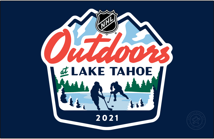 National Hockey League Logo Event Logo (2020/21) - During the abbreviated 2020-21 NHL season, the league held two outdoor games played at Lake Tahoe referred to as NHL Outdoors at Lake Tahoe. The logo for this two-game special featured the silhouette of two players on a frozen lake with snow and pine trees around. The name of the event was scripted above in red and blue with the peaks of a mountain above everything. SportsLogos.Net