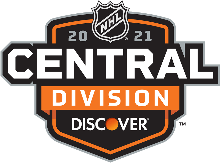 National Hockey League Logo Division Logo (2020/21) - Discover NHL Central Division Logo. For the 2020-21 NHL season the league needed to temporarily realign their divisions due to the COVID-19 pandemic eliminating cross-border travel. All division logos followed the same template with only the division and sponsor names switched out as well as a secondary colour. Shown here is the logo for the Discover NHL Central Division on an orange and black shield. SportsLogos.Net