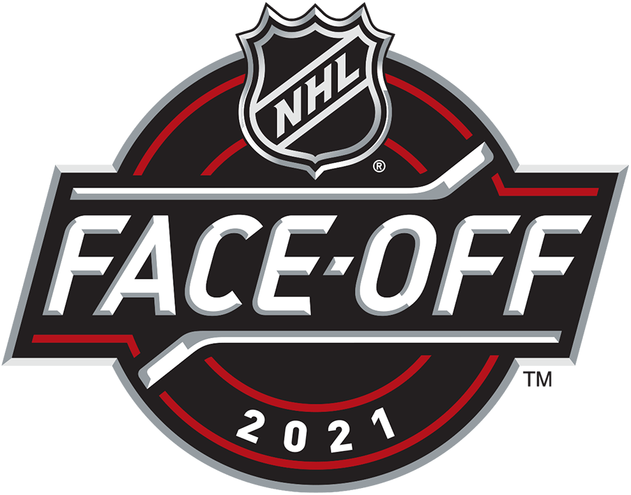 National Hockey League Logo Event Logo (2020/21) - The 2021 NHL Faceoff logo, used to celebrate opening night around the league the logo shows the NHL shield on a black and red circle with FACE-OFF below in between two hockey sticks, the year 2021 is arched below within the circle. SportsLogos.Net