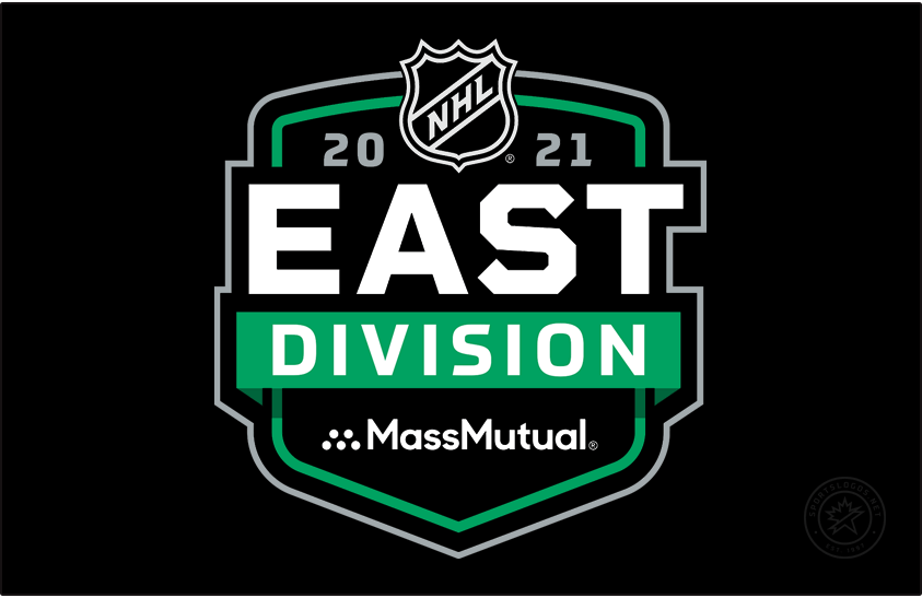 National Hockey League Logo Division Logo (2020/21) - MassMutual NHL East Division logo. For the 2020-21 NHL season the league needed to temporarily realign their divisions due to the COVID-19 pandemic eliminating cross-border travel. All division logos followed the same template with only the division and sponsor names switched out as well as a secondary colour. Shown here is the MassMutual NHL East Division logo on a green and black shield. SportsLogos.Net