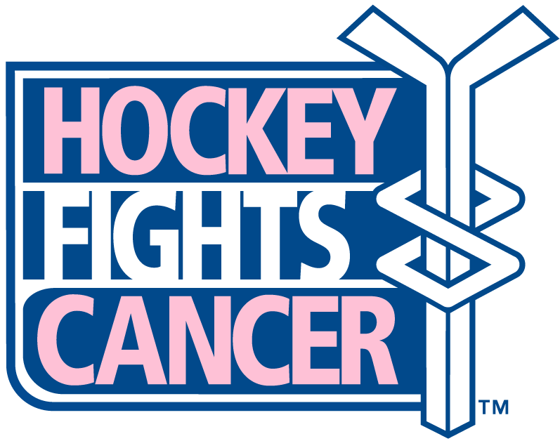 National Hockey League Logo Charity Logo (2010/11-Pres) - Hockey Fights Cancer pink and blue logo - pink represent breast cancer and blue represent prostate cancer. SportsLogos.Net