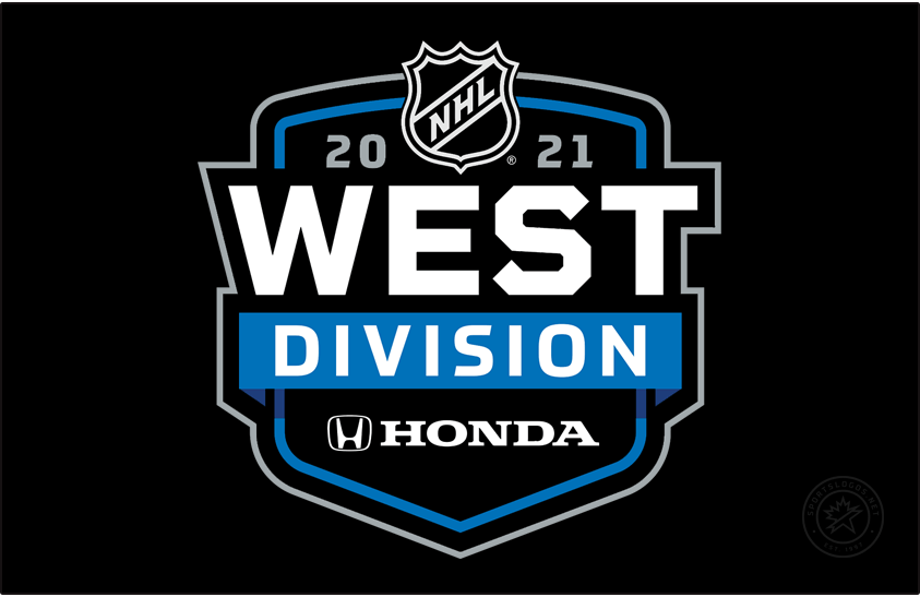 National Hockey League Logo Division Logo (2020/21) - Honda NHL West Division logo. For the 2020-21 NHL season the league needed to temporarily realign their divisions due to the COVID-19 pandemic eliminating cross-border travel. All division logos followed the same template with only the division and sponsor names switched out as well as a secondary colour. Shown here is the Honda NHL West Division logo on a blue and black shield. SportsLogos.Net