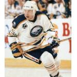 National Hockey League (1992) Randy Wood wearing Buffalo Sabres home uniform with NHL 75th Anniversary Patch during 1991-92 season
