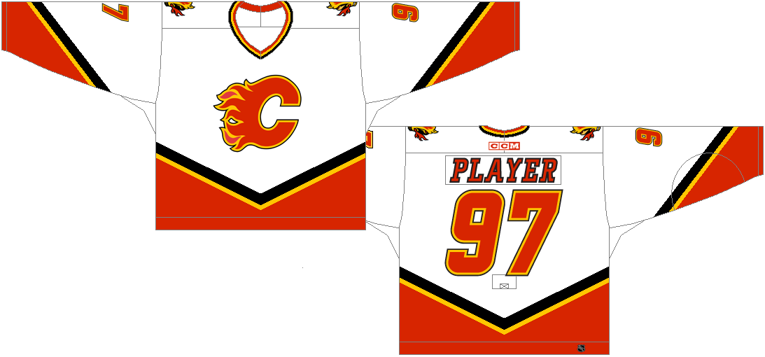 Calgary Flames Uniform Light Uniform (2000/01-2006/07) - Home Jersey (2000/01-2002/03)<br /> Road Jersey (2003/04-2006/07)<br /> <br /> SportsLogos.Net