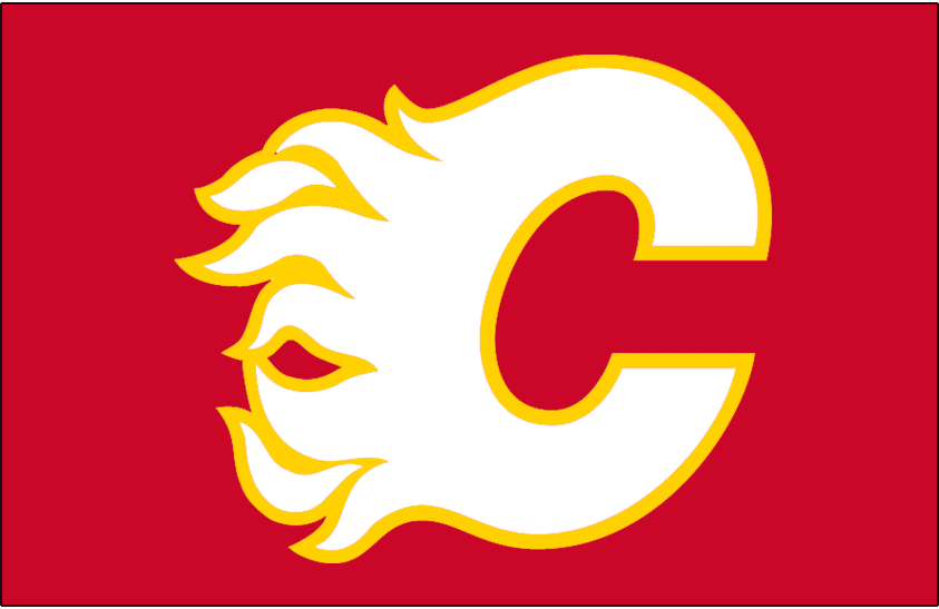 Calgary Flames Logo Jersey Logo (1980/81-1993/94) - A white and yellow flaming C on red, worn on Calgary Flames road uniform from 1980-81 through 1993-94 SportsLogos.Net