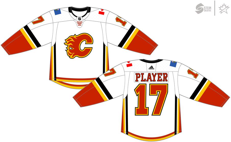 Calgary Flames Uniform Light Uniform (2017/18-2019/20) - Adidas Jersey SportsLogos.Net