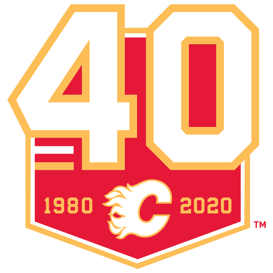 Calgary Flames Logo Anniversary Logo (2019/20) - Calgary Flames 40th anniversary logo, worn as a jersey patch during the 2019-20 season SportsLogos.Net