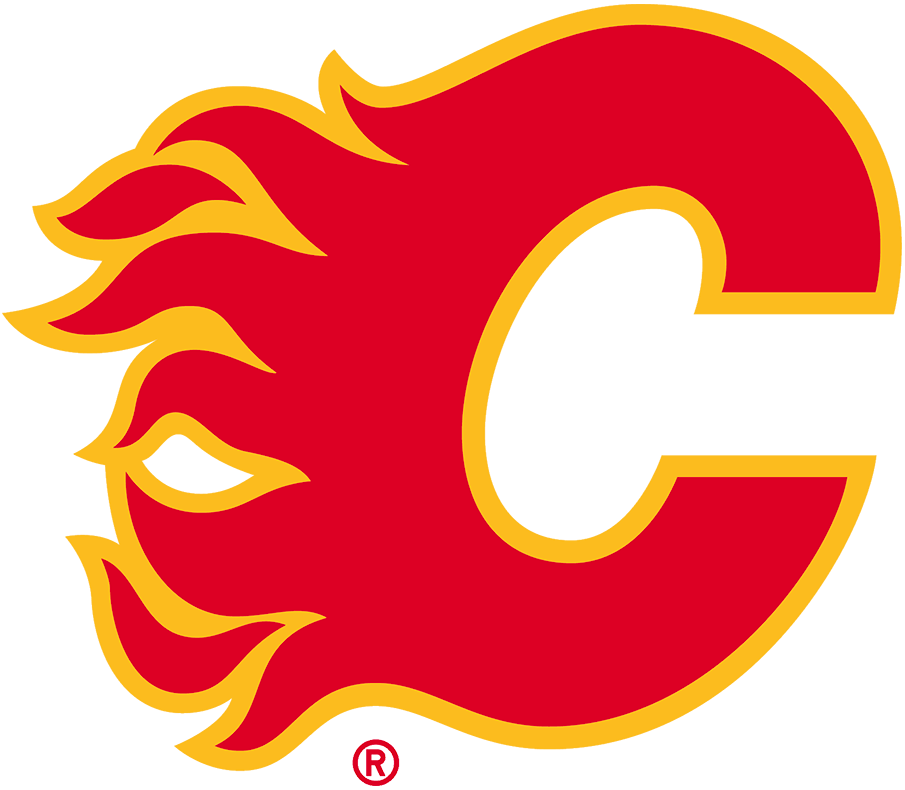 Calgary Flames Logo Primary Logo (2020/21-Pres) - The Calgary Flames return to their original logo and colours as the team goes Full Retro for the 2020-21 season. The flaming C, used by the team since their first season in Calgary in 1980 sticks around but is restored to its previous red and gold only colour scheme. The new logo was accompanied by a return to the original style uniforms as well.  SportsLogos.Net