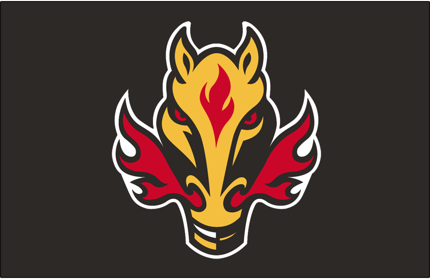 Calgary Flames Logo Jersey Logo (1998/99-2005/06) - A yellow horse head with black and red details, red flames from nostrils. Worn on Calgary Flames black road and black alternate jerseys from 1998-99 through 2005-06 SportsLogos.Net
