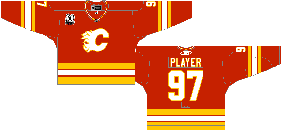 Calgary Flames Uniform Alternate Uniform (2009/10) - Classic road Calgary Flames uniform from 1980-1994 with 30th Anniversary patch SportsLogos.Net