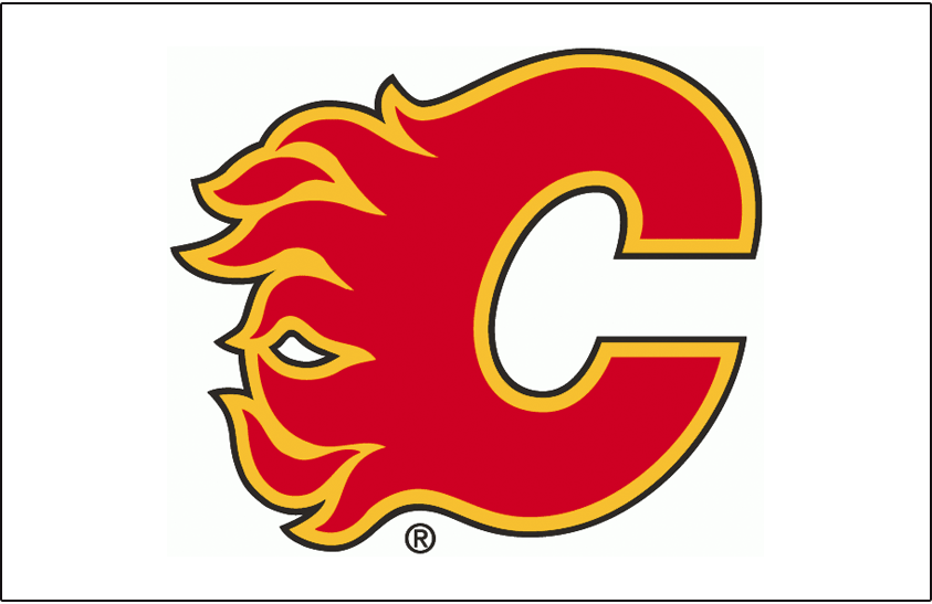 Calgary Flames Logo Jersey Logo (1994/95-2019/20) - A red, yellow, and black flaming C on white, worn on Calgary Flames white uniform beginning with the 1994-95 season SportsLogos.Net