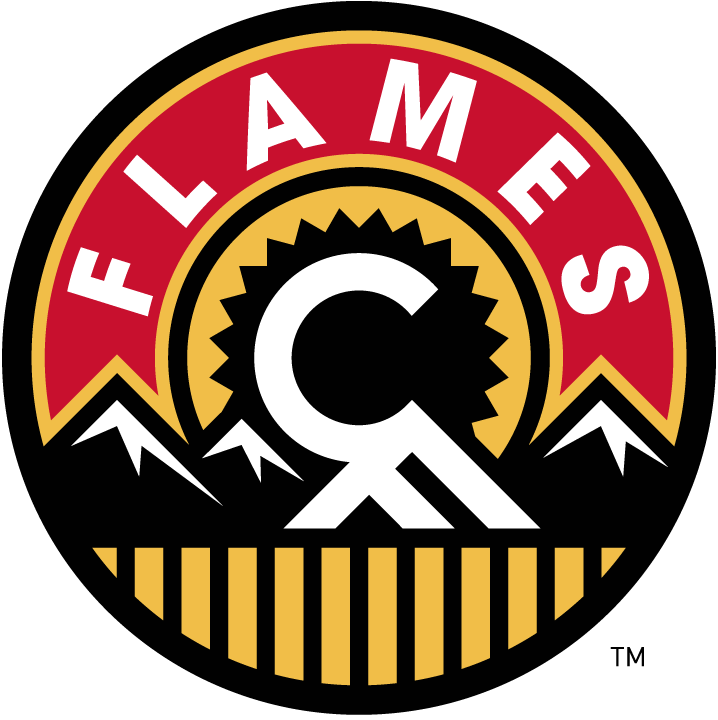 Calgary Flames Logo Alternate Logo (2013/14-2015/16) - A mountain range and wheatfield with a setting sun in the background. A white C and F formed between the sun and mountain peaks. FLAMES arched above in white on a red semi-circle. Worn on shoulder of Calgary Flames alternate jersey SportsLogos.Net