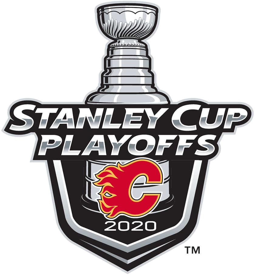 Calgary Flames Logo Event Logo (2019/20) - The Calgary Flames 2020 Stanley Cup Playoffs logo features the Flaming C logo on a black shield with STANLEY CUP PLAYOFFS written above in silver and 2020 below in white. A depiction of the top-half of the Stanley Cup can be seen above the shield. This logo is used by the Flames on various materials throughout their participating in the 2020 NHL Stanley Cup Playoffs. SportsLogos.Net