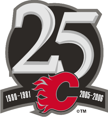 Calgary Flames Logo Anniversary Logo (2005/06) - Patch worn to commemorate the 25th anniversary of the Flames in Calgary.  SportsLogos.Net