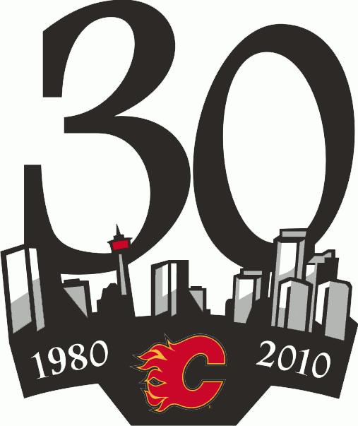 Calgary Flames Logo Anniversary Logo (2009/10) - Calgary Flames 30th Anniversary Logo SportsLogos.Net