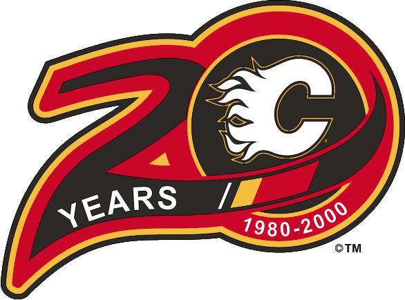 Calgary Flames Logo Anniversary Logo (1999/00) - Calgary Flames 20th Anniversary SportsLogos.Net