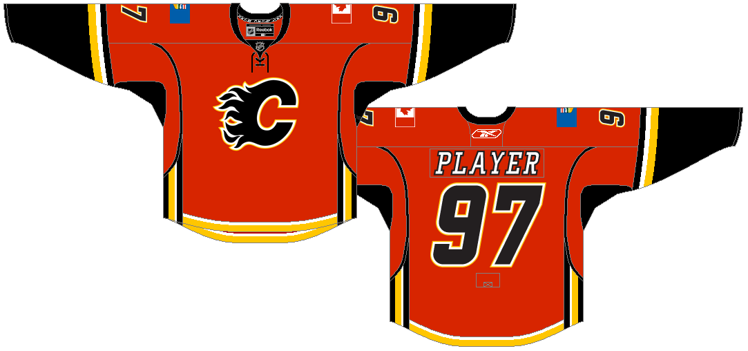 Calgary Flames Uniform Dark Uniform (2007/08-2016/17) -  SportsLogos.Net