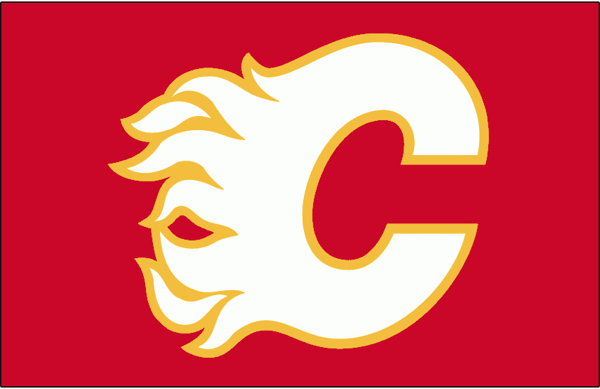 Calgary Flames Logo Throwback Logo (2009/10) - Original Flames logo in white and yellow on red, worn on the Calgary Flames throwback jerseys beginning with the 2009-10 season SportsLogos.Net