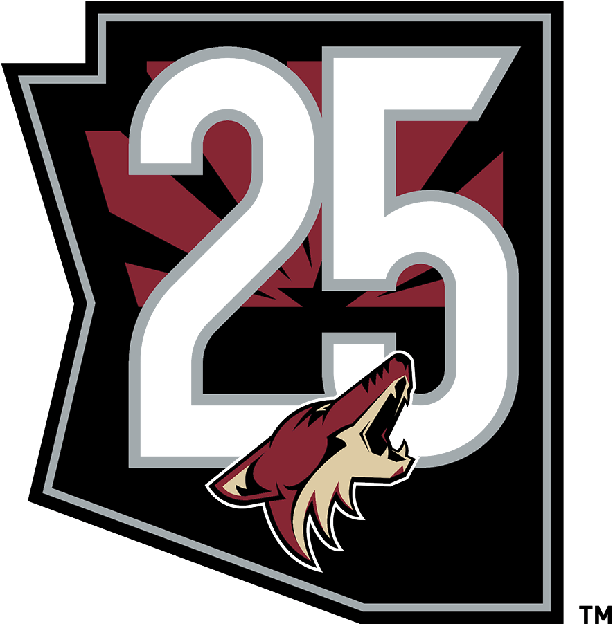 Arizona Coyotes Logo Anniversary Logo (2020/21) - To celebrate the 25th anniversary of their arrival to the desert, the Arizona Coyotes sported this 25th anniversary patch on their home and road jerseys for the 2020-21 season. The logo shows the team's primary logo within a black state map of Arizona, a 25 in silver above and a representation of the Arizona state flag behind. SportsLogos.Net