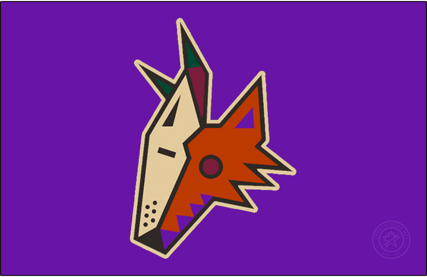 Arizona Coyotes Logo Jersey Logo (2020/21-Pres) - The Arizona Coyotes Reverse Retro logo, a throwback to the 1998 season and their desert landscape alternate uniform. The logo shows the head of the Coyotes Kachina logo - a coyote wearing half a goalie mask in brown, purple, and sand on a purple jersey. This logo originally appeared on a green jersey when it was originally worn in the late 1990s by the Phoenix Coyotes. SportsLogos.Net