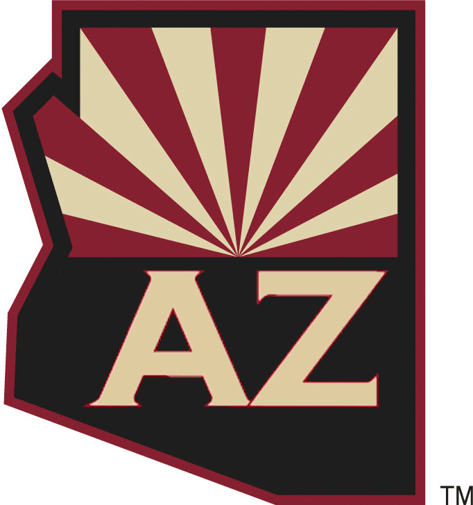 Arizona Coyotes Logo Alternate Logo (2014/15) - State of Arizona map with half of the state flag in the upper half of the map recoloured to match those of the Arizona Coyotes. Below the flag is the state abbreviation of AZ in a Copperplate-esque style font. SportsLogos.Net