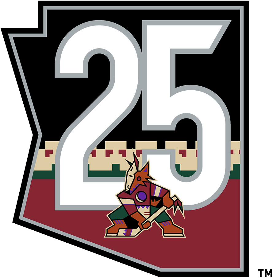 Arizona Coyotes Logo Anniversary Logo (2020/21) - To celebrate the 25th anniversary of their arrival to the desert, the Arizona Coyotes sported this retro-inspired 25th anniversary patch on their throwback alternate third Kachina jerseys for the 2020-21 season. The logo shows the team's original Coyote logo within a black state map of Arizona, a 25 in silver above and the team's familiar Kachina jersey striping below. SportsLogos.Net