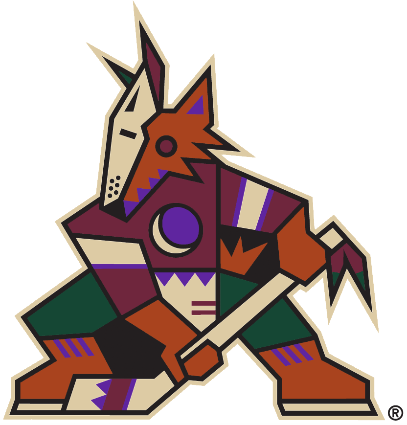 Arizona Coyotes Logo Alternate Logo (2018/19-Pres) - Original Coyotes logo brought back for the throwback alternate third uniform, this logo isn't officially classified as an alternate or secondary team logo but as it appears as the main identity of their official third uniform we've included it as an alternate within our collection SportsLogos.Net
