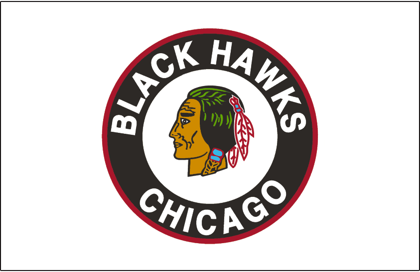 Chicago Black Hawks Logo Jersey Logo (1951/52-1954/55) - Native American head wearing feathered headdress inside a black and red circle on a white jersey from 1951-52 through 1954-55 SportsLogos.Net