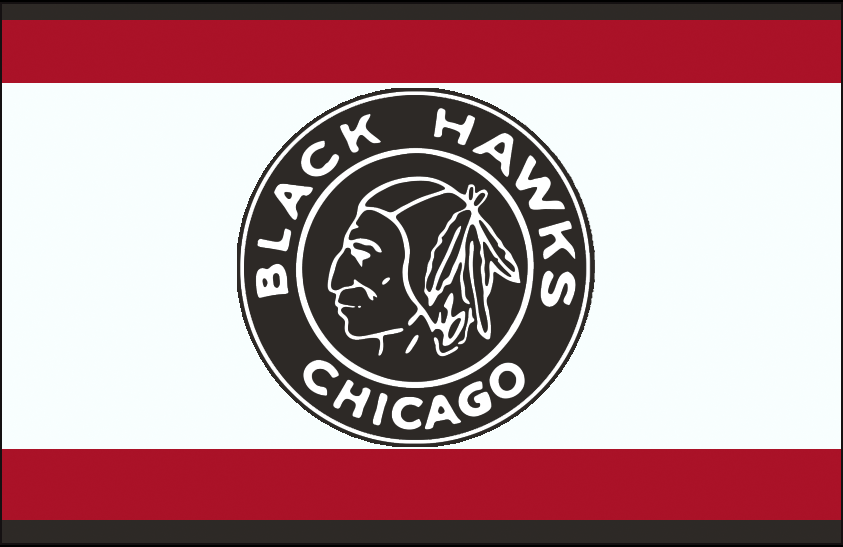 Chicago Black Hawks Logo Jersey Logo (1934/35) - Black and white native american head on a black and white circle, worn on a black, white, and red striped jersey during the 1934-35 season only SportsLogos.Net