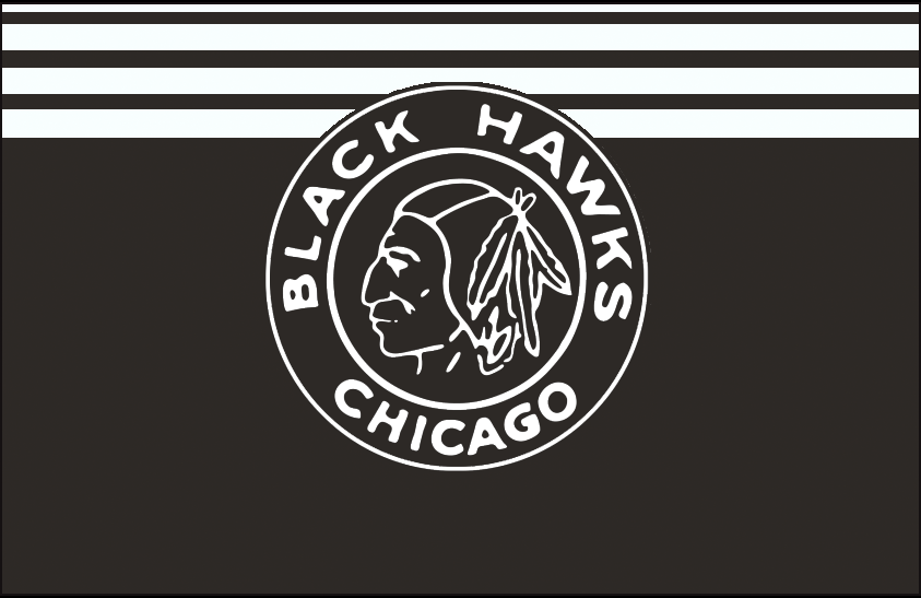Chicago Black Hawks Logo Jersey Logo (1927/28) - Black and white native american head on a black and white circle, worn on a black and white striped jersey in 1927-28 SportsLogos.Net