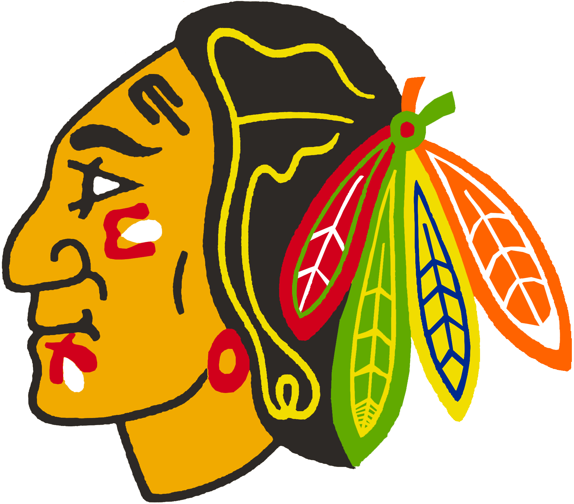 Chicago Black Hawks Logo Primary Logo (1959/60-1985/86) - A Native American head with a feathered head dress. Name of franchise changed for the 1986-87 season. SportsLogos.Net